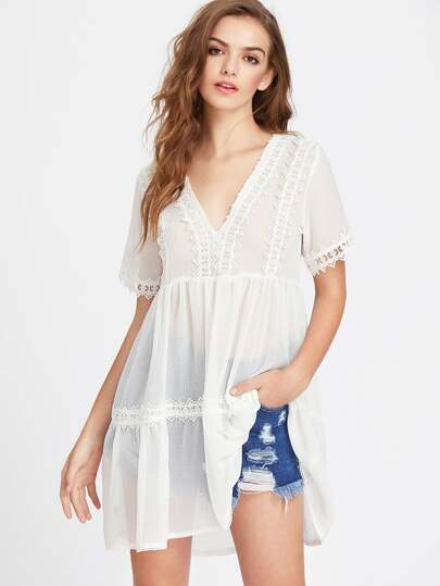 Lace Trim Semi Sheer Tiered Babydoll Dress