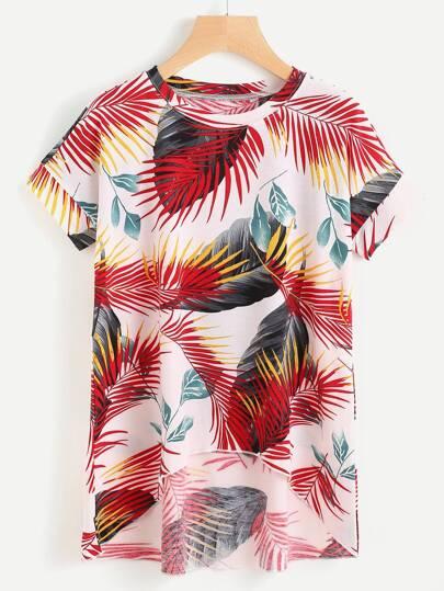 Tee-shirt trapèze imprimé des feuilles