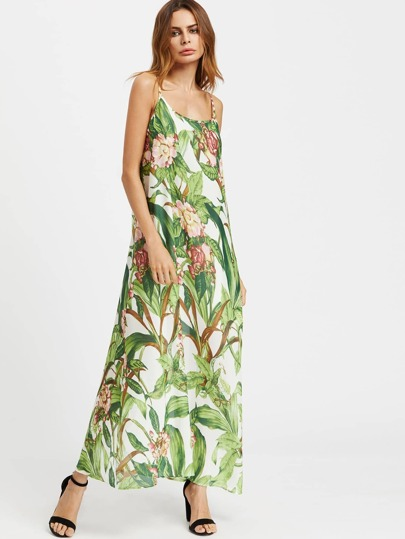 Tropical Print Double Scoop Cami Dress