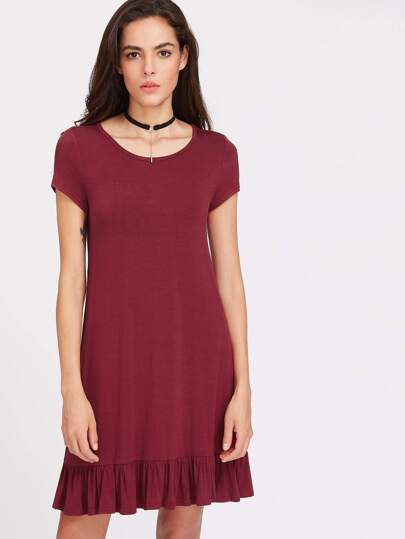 Ruffle Hem Tee Dress