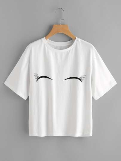 Smiling Eyes Print Drop Shoulder Tee