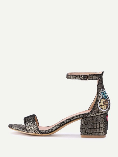 Dragonfly And Pineapple Embroidery Crocodile Print Sandals