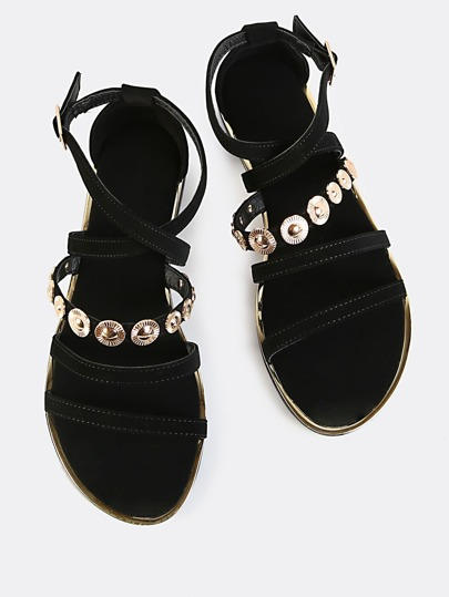 Strappy Open Toe Coin Flat Sandals BLACK