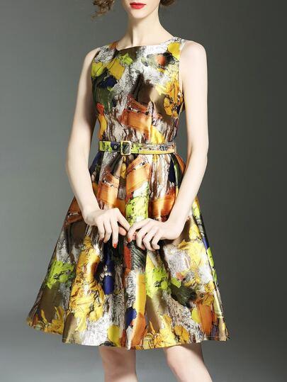 Multicolor Belted Print A-Line Dress