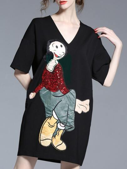 V Neck Cartoon Characters Sequined Embroidered Dress
