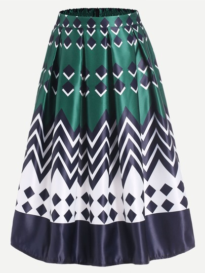 Geometric Print Box Pleated Midi Skirt