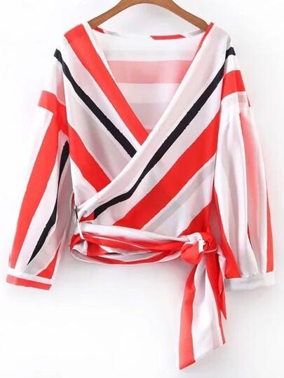Plunging V-Neckline Tie Waist Wrap Top