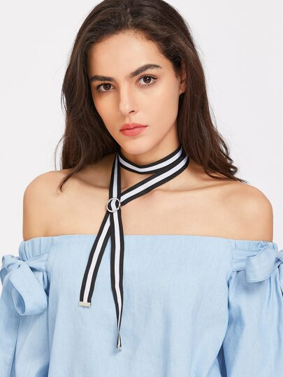 Striped Buckle Long Strap Wrap Necklace