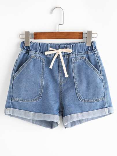 Drawstring Rolled Hem Denim Shorts
