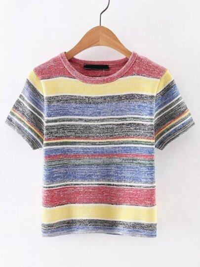 Short Sleeve Striped Knitwear