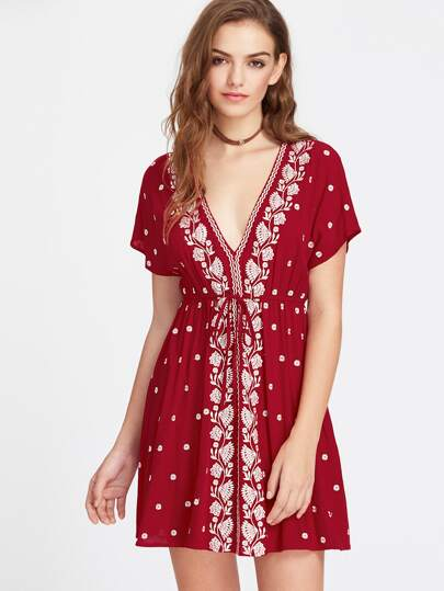 Vine Embroidered Dolman Sleeve Drawstring Waist Babydoll Dress