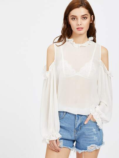 Frill Detail Open Shoulder Lantern Sleeve Semi Sheer Top