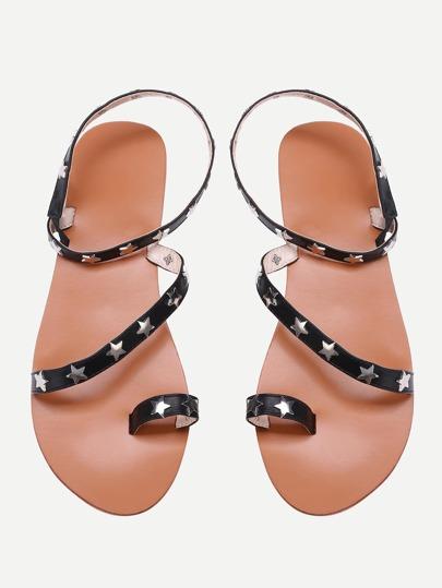 Sandales à anneaux à talons cloutés