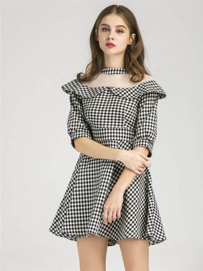 Peter Pan Collar Gingham Contrast Mesh Dress