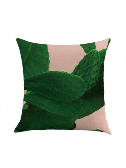 Copertura della federa con stampa di cactus a contrasto