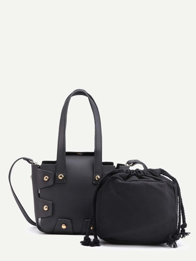 PU Satchel Bag With Inner Pouch