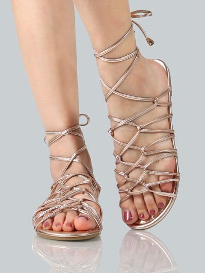 Metallic Super Strappy Sandals ROSE GOLD