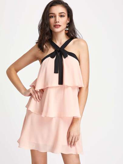 Contrast Bow Tie V Strap Front Layered Flounce Dress