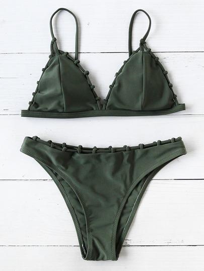 Woven Strap Triangle Bikini Set