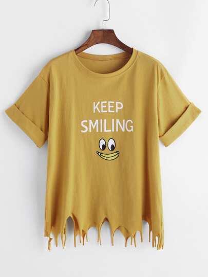 Cartoon Print Asymmetric Raw Hem Cuffed T-shirt