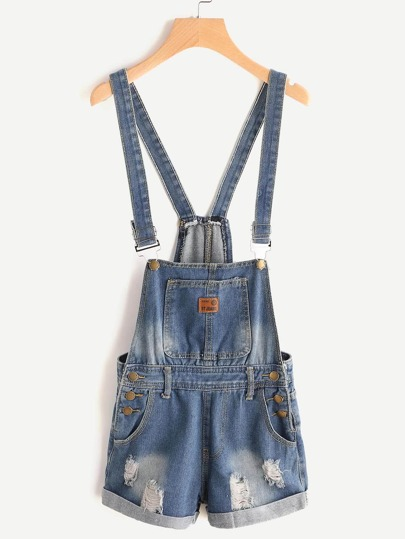 Shorts in washed denim Overalls gebrochen Bleich