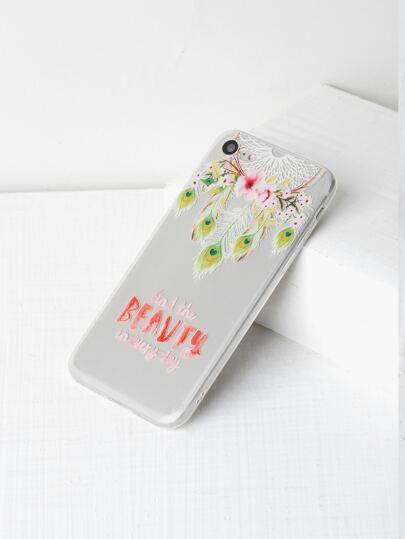 Funda para iPhone 7 transparente con estampado de cazador de sueños y flor