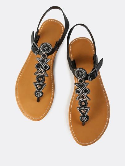 Embellished Thong Sandal BLACK