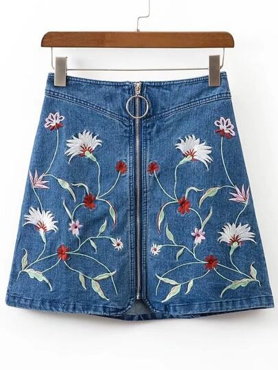 Zipper Front A Line Denim Skirt