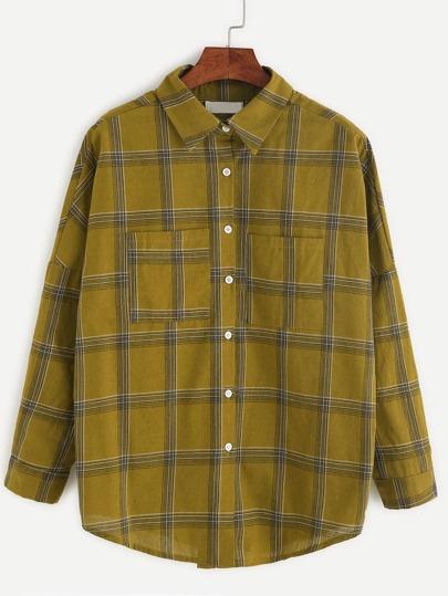 Chemise en écossais avec poche - kaki