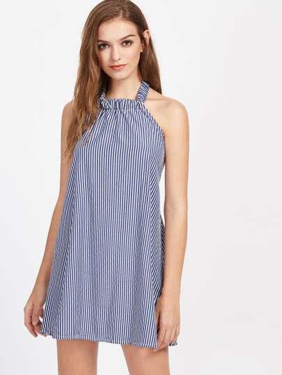 Vertical Pinstripe Open Back Tie Halter Dress