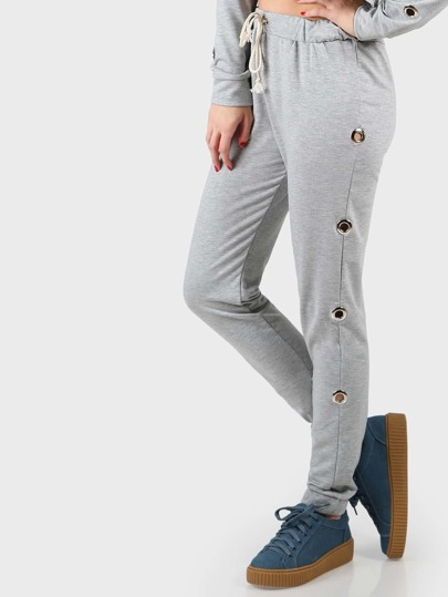 Grommet Drawstring Joggers HEATHER GREY