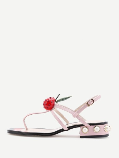 Cherry Embellished Thong Sandals