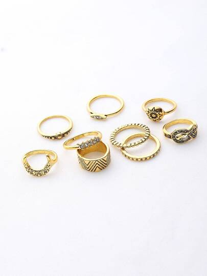 Moon And Rhinestone Ring Set