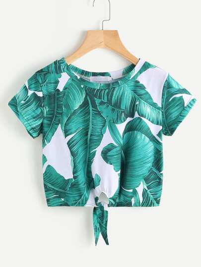 Palm Leaf Print Knot Front Tee
