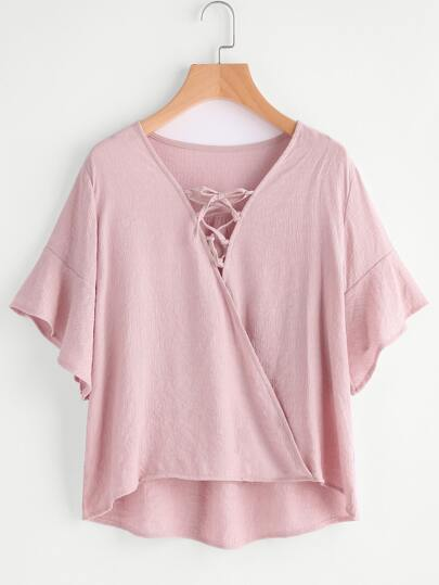 Lace Up Front Bell Sleeve Dip Hem Top