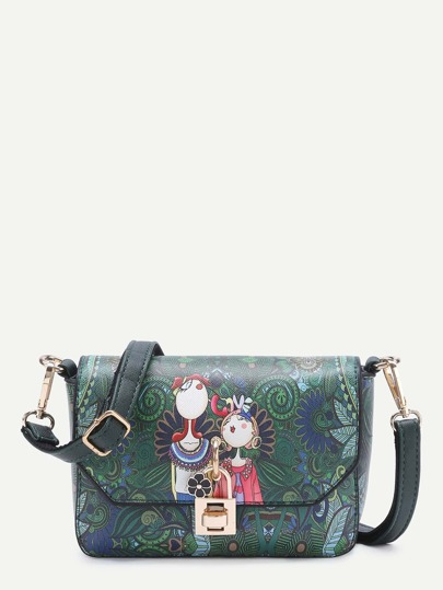 Flower Detail Cartoon Print PU Crossbody Bag