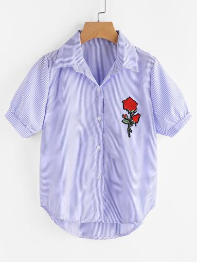 Pinstripe Rose Embroidered Dip Hem Shirt