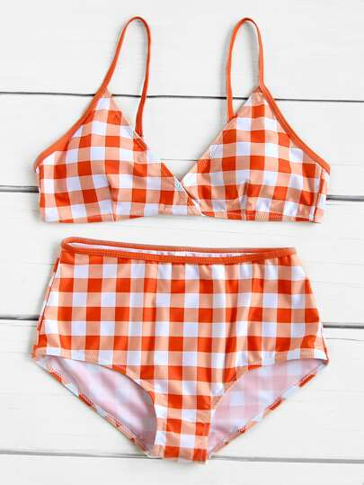 Gingham Print High Waist Bikini Set