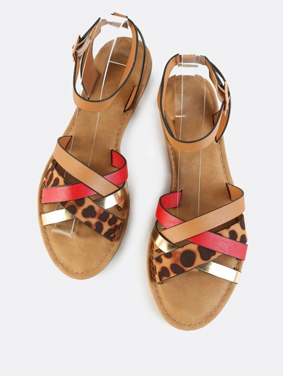 Leopard Multi Strap Ankle Sandals RED