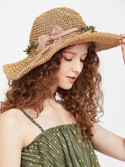 Chapeau de paille de couleur de fleur de kaki avec l'arc