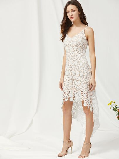 Lace Overlay Dip Hem Slip Dress