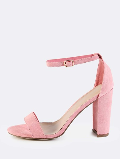 Faux Suede Ankle Strap Chunky Heels PINK
