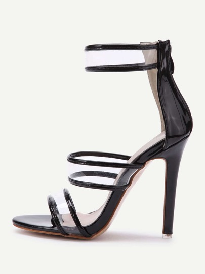 Clear Detail Stiletto Sandals With Zipper Back