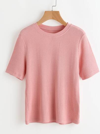 Pink Ribbed Knit Short Sleeve T-shirt