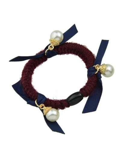 Navyblue Color Pearl Elastic Hair Rope Scrunchie