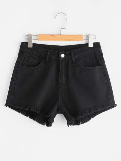 Eye Print Ripped Pocket Frayed Denim Shorts