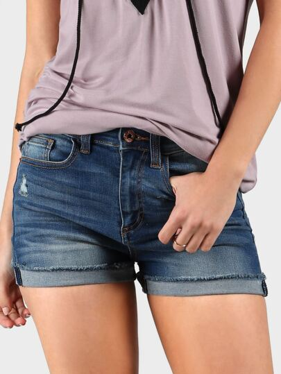 High Rise Boyfriend Denim Shorts DENIM