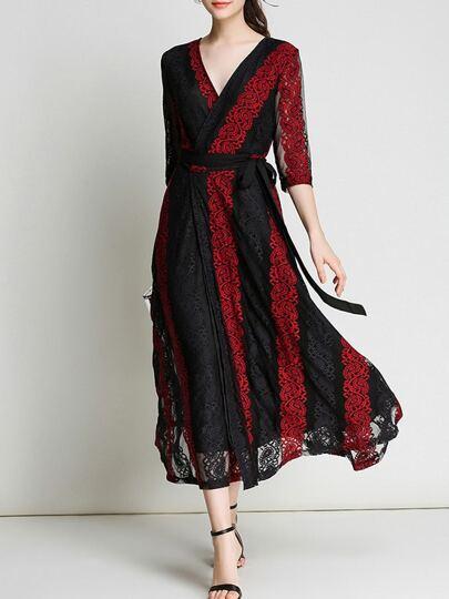 Color Block Sheer Lace Dress