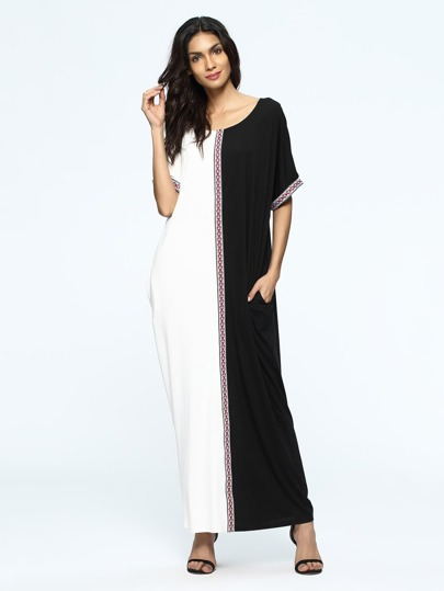 Color Block Woven Tape Maxi Dress
