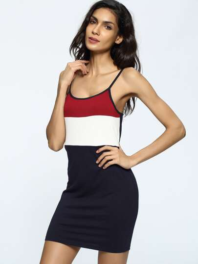 Color Block Sheath Slip Dress